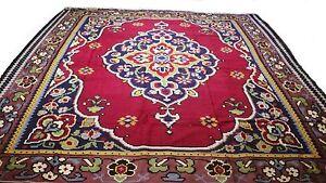 Antique-Vintage-Persian-Handmade-Pure-Wool-Rug-140-034-X-119-034-Royal-Medallion-104