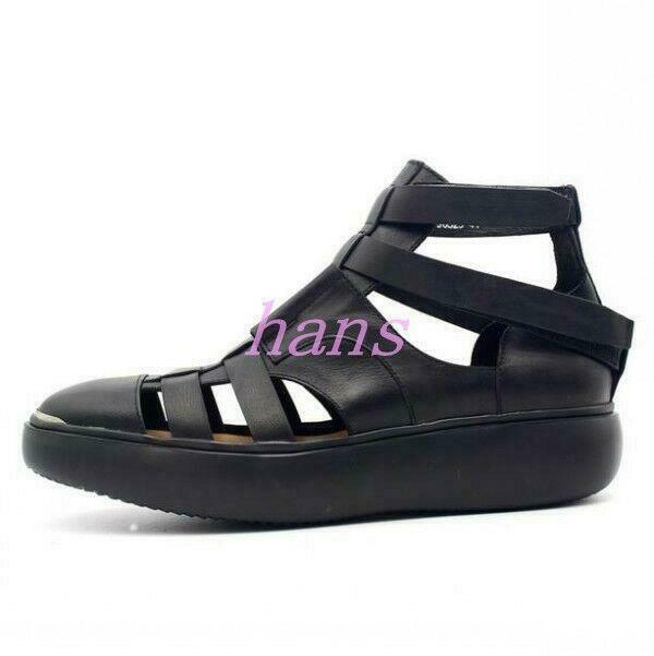Roma Gladiator Mens Casual Seals Hollow Out Real Leather Platform sautope Summer