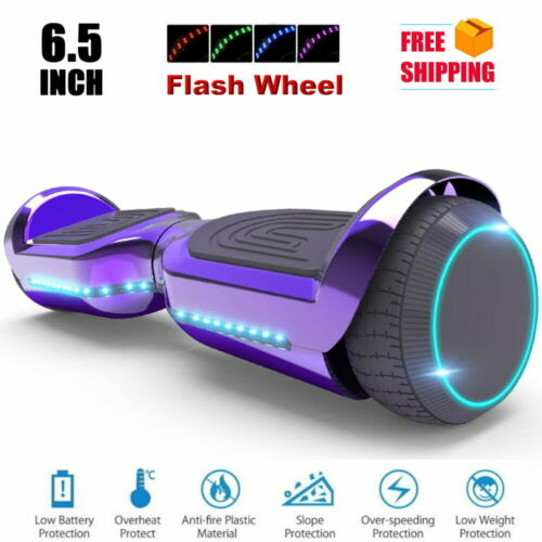 UL Chrome Color Self-Balance Flash Wheel 6.5/'/' Hoverboard with Front//Back LED
