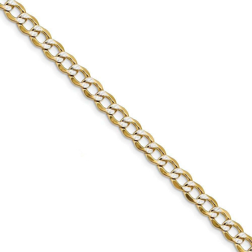 14k gold 6.75mm Semi-solid Two-Tone Curb Link Chain Bracelet 8 Inch