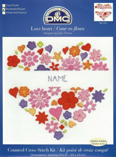 DMC MODERN SAMPLERS LOVE HEART 2015 CROSS STITCH KIT BK1551