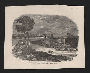 OPC-Vintage-Holy-Land-Engraving-Sidon-Seen-from-the-Sea-Shore-5-5x4-5-034