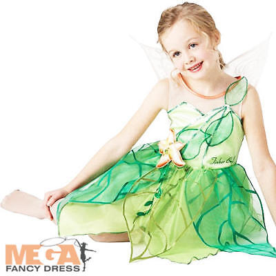 New Tinkerbell Fairy Girls Disney Fancy Dress Fairies Costume Child Kids Age 3-8