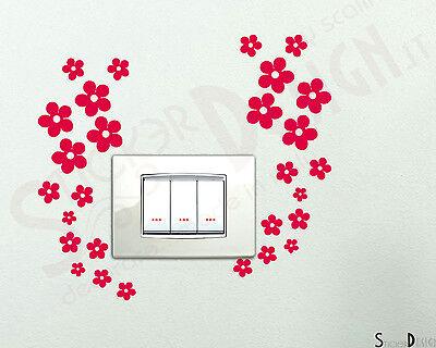Adesivi  Fiori per Interruttori Prese Placche Wall Stickers Decorazione da Muro