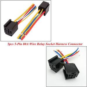 Details about 5 x 5-Pin 12V 80A Wire Relay Socket Harness Connector on
