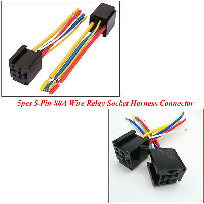 5 x 5-Pin 12V 80A Wire Relay Socket Harness Connector Control Car Headlight A Pin V Relay Wiring on