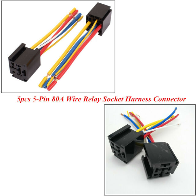 5 X 5 Pin 12v 80a Wire Relay Socket Harness Connector Control Car