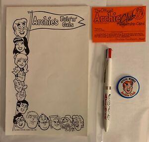 Vintage-1985-Archie-Club-Kit-Note-Pad-Membership-Card-Pen-Button