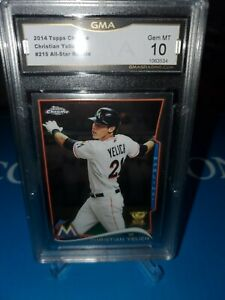 GMA-10-MINT-TOPPS-CHROME-CHRISTIAN-YELICH-RC-ROOKIE-CUP-215-MINT-HOT
