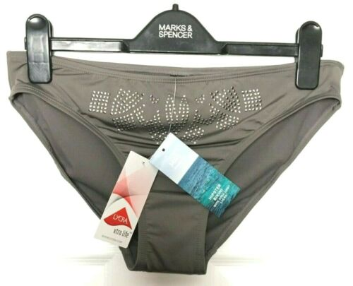 M/&S Ladies Bikini Bottoms Grey Studded Hipster BNWT Marks