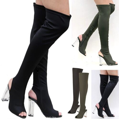 New Women FC16 Stretchy Over the Knee Thigh High Chunky Clear Heel Boots 6-10