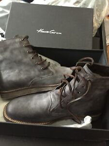 KENNETH-COLE-REACTION-MENS-10M-Leather-Boots-Grey-Distressed-Vintage-Look-NEW