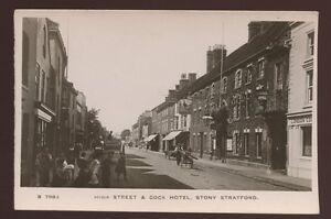 Bucks-STONY-STRATFORD-High-St-Cock-Hotel-early-RP-PPC-c1910-local-children