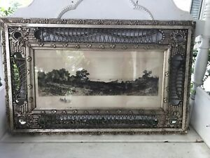 """Rare Victorian Antique Wicker Rattan Gesso Frame G.W. Bohde Signed Engraving 34"""""""