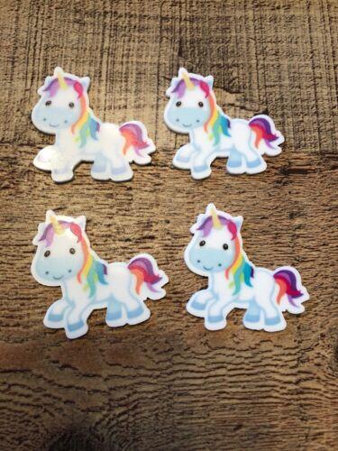 Unicorn Planar Resin FlatBack x4 Cabochon Decoden Kawaii Craft Embellishment Bow
