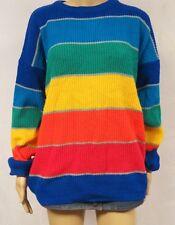 Vintage 80s 90s Sweater Rainbow Stripe Pride OP Slouchy Baggy Grunge Hip