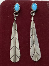 SALE 12mm  Feather Vintage  Sterling Turquoise Posts