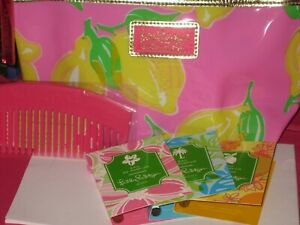 Lilly-Pulitzer-Estee-Lauder-Lemon-Vinyl-Cosmetic-Bag-w-Comb-amp-3-Lilly-Perfumes