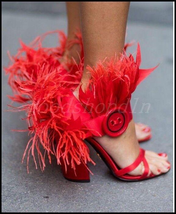 Zapatos De Fiesta pluma de mujer de alto punta abierta occidental Bloque Talón Sandalias de Moda Club