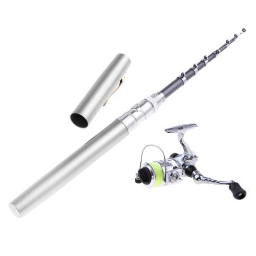 MagiDeal Mini Portable Pocket Aluminum 1.4m Pen Fishing Rod and Reel Combos