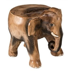 Hermoso-Elefante-De-Madera-Tallada-a-Mano-Pequeno-Mesa-Taburete-Maceta-Soporte