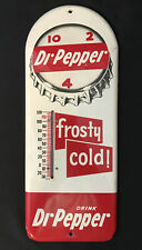 "Vintage 1950's DR PEPPER Soda Pop 10 2 4 16"" Metal Thermometer Sign Frosty NR"