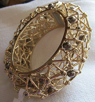 BRAND NEW ST JOHN KNIT WOMENS BRACELET DESIGNER GOLD COLOR LARGE