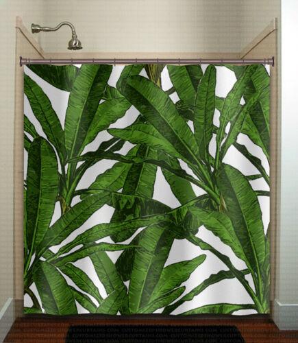 Tropical Jungle Palm Banana Leaf shower curtain brazilliant bathroom decor new