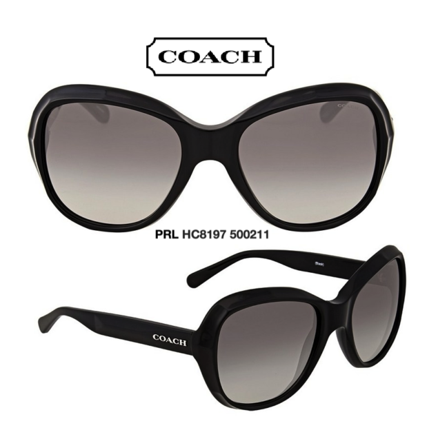 37c2fbe83575 Coach HC8197 500211 Sunglasses Black/Gray Gradient Women's 100% Authentic &  New
