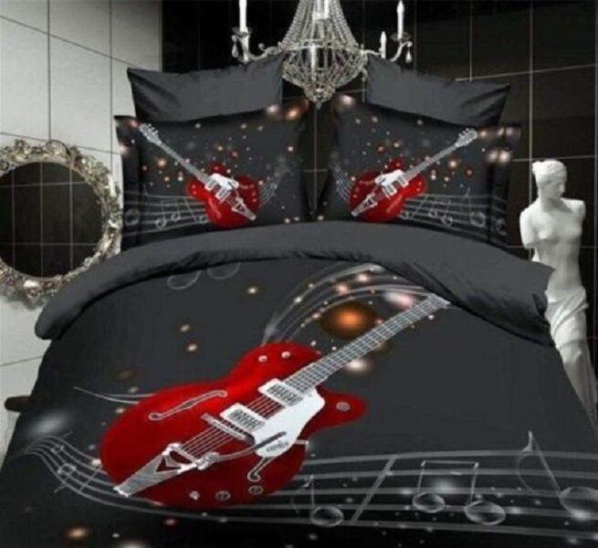 NEW Beautiful 3D Printing Cotton Blend Guitar Bedding Set 4 Pcs