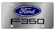 New Ford F-350 Blue Logo Stainless Steel License Plate