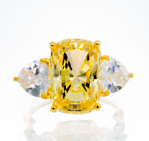 CANARY CHUNKY CUSHION CUT CUBIC ZIRCONIA ENGAGEMENT RING IN YGP STERLING SILVER