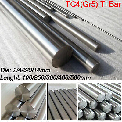 500mm 2 4 5 8 10 14mm TC4 GR5 Titanium Round Rod Ti Alloy Bar Metal Shaft 100mm