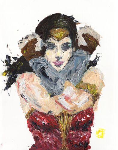 PRINT Wonder Woman  Hands in X Abstract Comic Art Superhero Fine Painting 11x14
