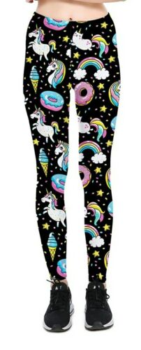 UK12-14 UK-8 2XL Pantalones Leggings Negro Semi Satinado Unicornio S M UK-10