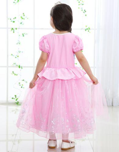 NEW Girls Kids Queen Elsa Princess Anna blue Pink Party Dress ZG9