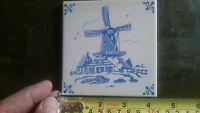 Mosa Blue Delft Windmill Ceramic Wall Tile