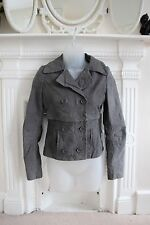 AllSaints 6 8 XS Grey Suede Leather Jacket 2-Ways to Wear Full Length & Cropped