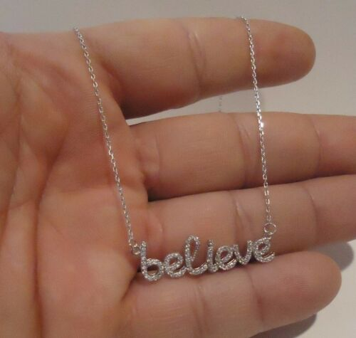 BELIEVE NECKLACE  PENDANT W// 1.25 CT LAB DIAMONDS //925 STERLING SILVER// 18 INCH