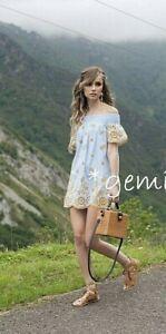 Zara Vestido Mini Rayas Encaje Bordado Pantalones Cortos S Ebay