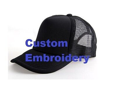 INITIAL Embroidery On Black Mesh Trucker Hat Cap Gift KIDS Personalised NAME