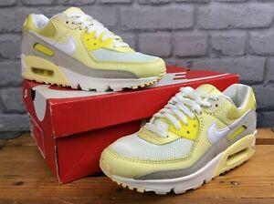 Nike-Donna-UK-5-5-EU-39-AIR-MAX-90-Giallo-Bianco-Mesh-Scarpe-da-Ginnastica-in-Pelle-RRP-125
