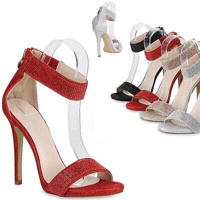 Damen Sandaletten High Heels Strass Glitzer Party Schuhe Riemchen 820994 Trendy | eBay