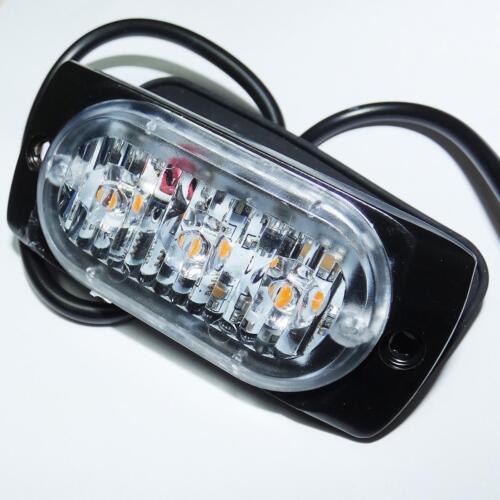 2x Amber  LED Car Truck Emergency Beacon Lights Hazard Flash Strobe Bar Warning