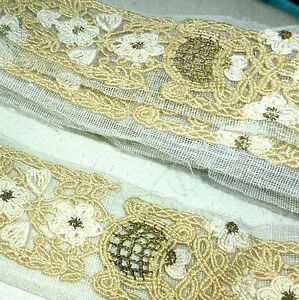 One Yard Antique Cord Lace with Hand Embroidered Gold Metal Basket Detail