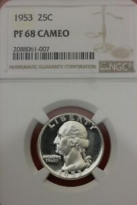 1953 Proof PF 68 Cameo George Washington Quarter NGC Certified Authentic OCE838