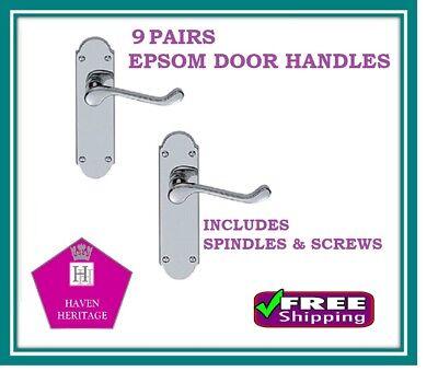Contemporary Fresh Epsom Internal Door Handles Chrome Latch Handles Door Sets D9