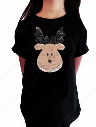 """Girls Sequence T-Shirt /"""" Cute Silver Reindeer /"""" in Size 3 to 14 Available"""