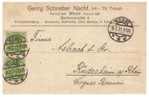 Empire-Allemand-Minr-143-Mef-Wesel-apres-Rudesheim-08-07-1921