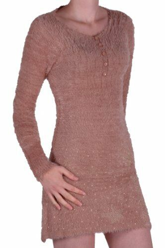 Femme Casual manches longues à encolure danseuse Laine Stretch Pull Mini Robe